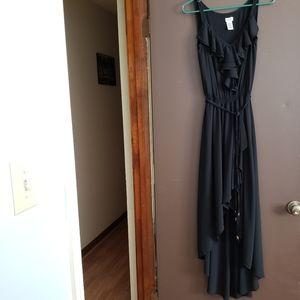NWT Black Cache' Ruffle High Lo Maxi Dress Sz S